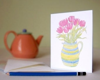 Cards -  Tulips, Set of 4 - Blank inside