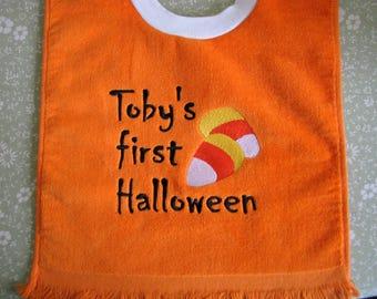 My First Halloween.  Personalized Baby Bib.  3 Sizes.