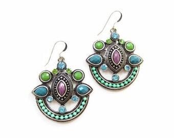 Soutache style earrings, huge colourful earrings, mint jewelry, statement earrings, moroccan earrings, persian earrings, crescent earrings