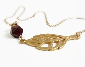 Garnet necklace, gold fill jewelry, leaf necklace, january birthstone, minimalist necklace, everyday jewelry, simple bridesmaid necklace