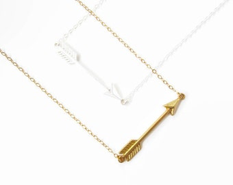 Gold Arrow necklace, silver arrow jewelry, bar necklace, minimalist necklace, boho layering necklace, simple necklace, valentines jewelry
