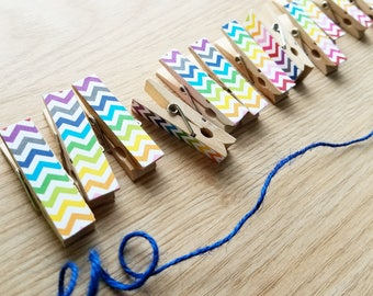 Rainbow Chevron Clips w Twine for Photo Display - Chunky Little Clothespin Set of 12
