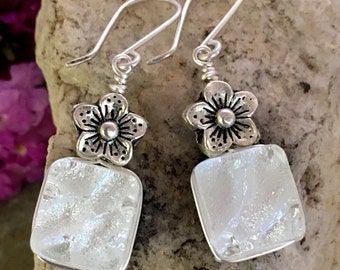 Silver White Dichroic Glass Earrings with Flowers .. Wire Wrapped Sterling Silver Hooks