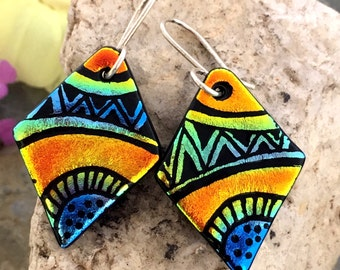 OOAK Hand Etched Dichroic Earrings Fused Glass & Sterling Silver Handmade Wires