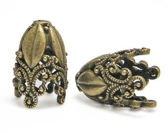 Tassel Caps - Tassel Cones - Bronze Bead Caps - Large Bead Cap -Ornate - 29x19mm - Tall Bead Caps - Large Beads Caps - 2pc  (2738)