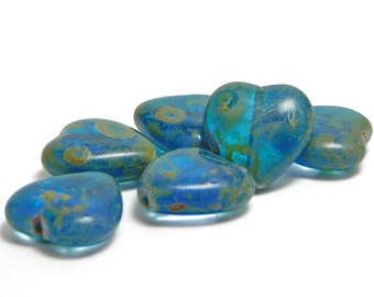Heart Beads - Czech Picasso Beads - Czech Glass Beads - 15mm - Czech Beads - Teal Blue - Heart Charm - 6pcs (2478)