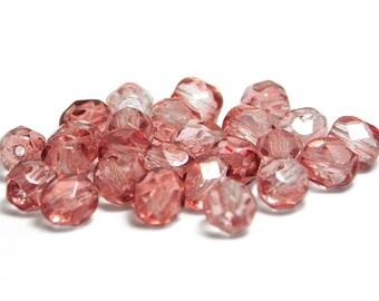Czech Fire Polished Beads - 6mm Fire Polished - Round Beads - Pink Fire Polished - Czech Glass Beads - 25pcs (3485)