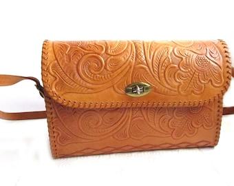 Tooled Leather Handbag Purse Vintage Old