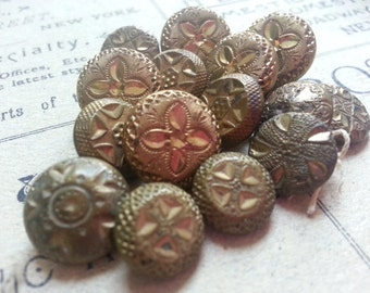 15 Antique Victorian Metal Buttons. Shabby. As Found.