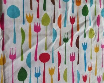 2 Yards ROBERT KAUFMAN Metro Cafe Screen Print Silverware Fabric Cotton Yardage