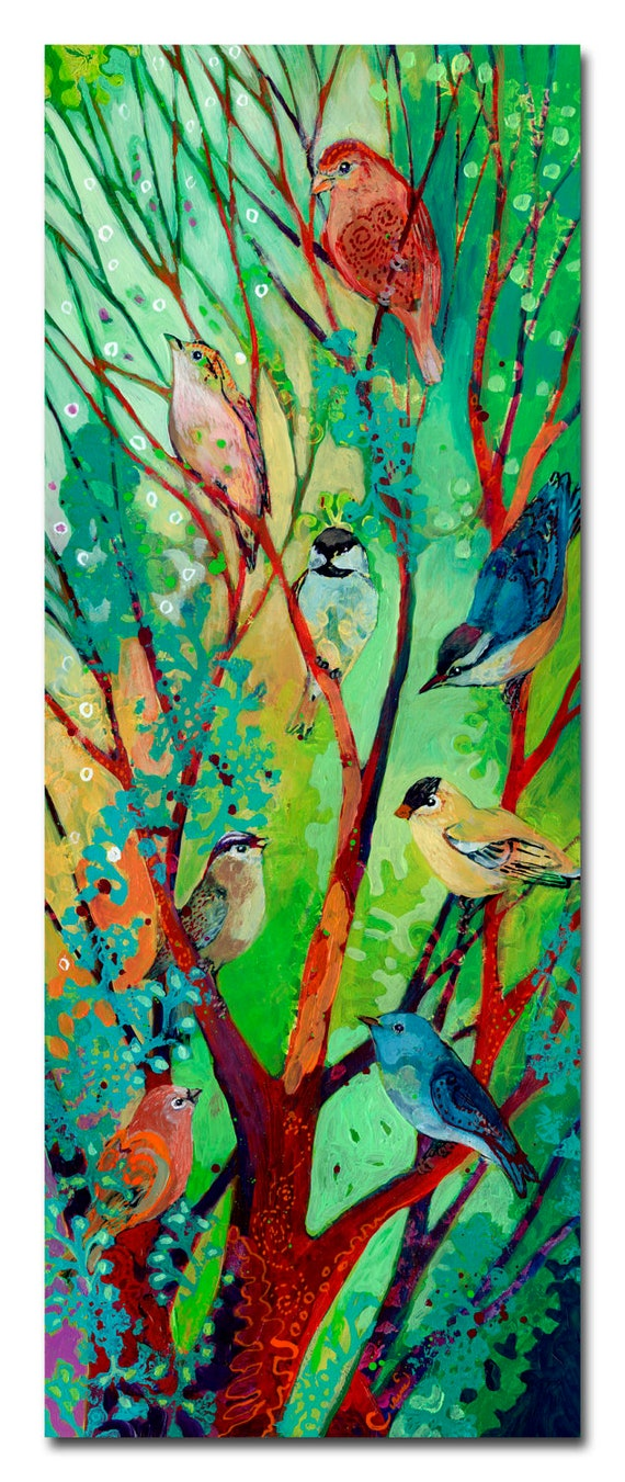 we are here for you - bird abstract ORIGINAL Painting, 10x26 by JENLO