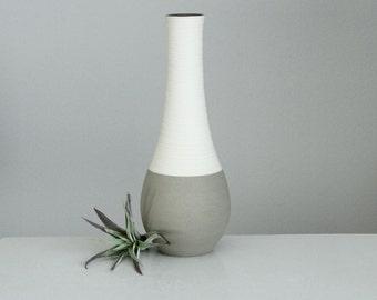 Porcelain Groove Vase in Matte Grey, Modern Grey Vase, Contemporary Pottery Vase Grey, Studio Pottery Vase