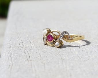 RARE 18k Nouveau French Pearl and Pink Tourmaline Ring Circa 1900