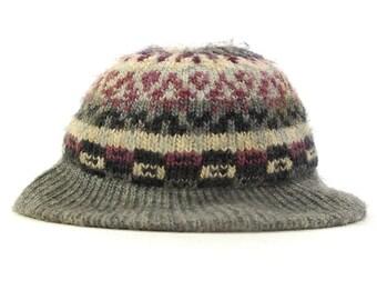 70s Knit Hat with Brim / Vintage 1970s Hippie Boho Bohemian Festival Cap / Grey & Pastel / Warm Aris Acrylic Beanie