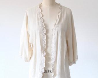 Cream Open Front Kimono Top
