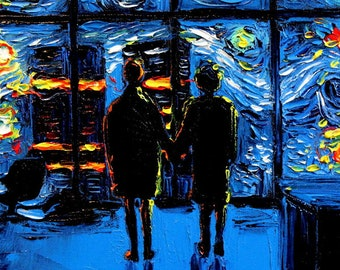 Fight Club Art - 24x36 Starry Night print van Gogh Never Watched The World Burn by Aja art move poster