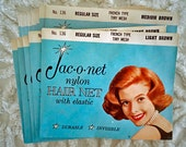 13 Vintage Hair Nets Jac-O-Net No. 136 Brown Hair Retro Beauty Shop 1960's
