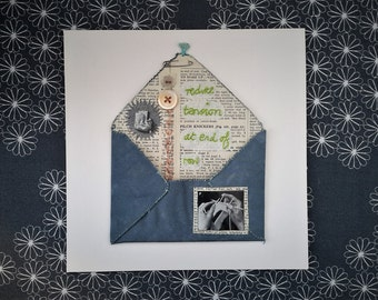 Embroidered Envelope, Textile Picture, Hand Embroidery 'REDUCE TENSION' Textile Art, Textile Collage Envelope, Emotional Art