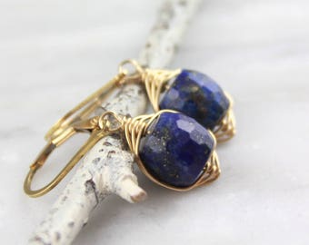 Gold Wrapped Lapis Earrings
