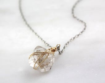 Gold Wrapped Herkimer Diamond Necklace