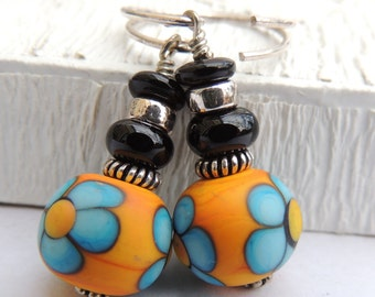 THOSE 70s EARRINGS Handmade Lampwork Bead Dangle Earrings