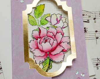 Unique Handmade Birthday Flip Card, Feminine Birthday, Birthday Greeting Card, Watercolor Flower, Card for Her, Card for Mom, Elegant Card