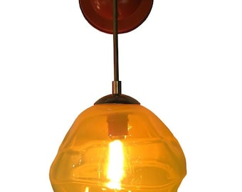 Tangerine Banded Hand Blown Glass Round Wall Sconce.