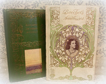 2 small antique books beautiful covers in very nice condition days with sir roger de coverly AND beecher's addresses
