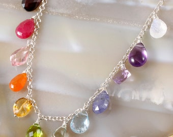 FINAL SALE - Rainbow Multi Stone Charm Statement Necklace