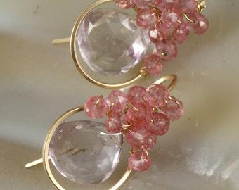 FINAL SALE - Pink Amethyst & Pink Quartz Wire Wrapped Earrings
