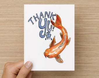 Thank You Asian Koi Fish Recycled Paper Folded Greeting Card