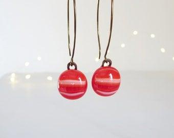 Fused Glass Earrings , Glass Earrings, Red Dangle Earrings, Red Earrings, Fused Glass Jewellery, Made in France