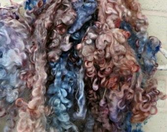 Leicester Longwool Curls - Hand Dyed Fleece - Blue, Brown, Cream, Blush Locks - Fiber Art Supplies - Moonstone