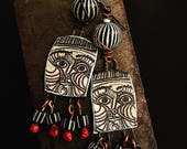 Tribal Earrings, One of a kind, Ceramic art beads