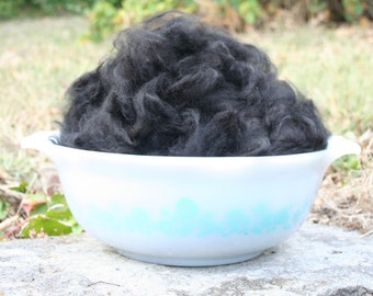 Alpaca Fiber, Washed & Picked, 3.5 ounces, black, Free shipping