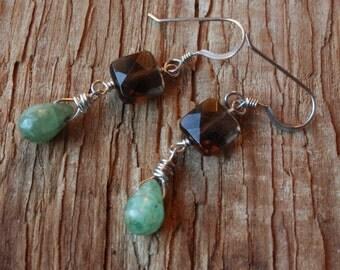 Smoky Quartz Green Kyanite Earrings, Sterling Silver Wire Wrapped Earrings, Gemstone Dangle Earrings, Brown Earrings, Green Earrings, Stone