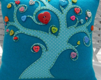Recycled Cashmere Sweater Tree of Love Pillow with Heart Buttons - Turquoise
