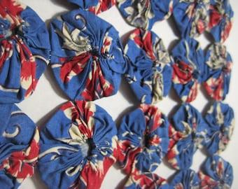 Antique YoYo Quilt Block Hand Sewn Early Fabrics EXC