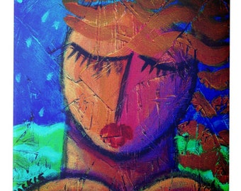 Woman by the Sea Original Abstract Painting Printed on Ceramic Tile
