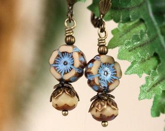 Turquoise and Tan Earrings, Turquoise Earrings, Czech Glass Earrings, Blue Flower Earrings, Floral Earrings,Flower Earrings, Boho Earrings