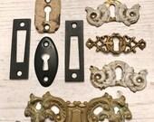SALE 8 Vintage Brass Key HOLES Escutcheon Chippy Paint Rusty Jewelry SUPPLIES Pendant Steampunk Assemblage Hardware Ornate Curiosity Cabinet