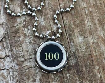100 Necklace, Keep It Real, Vintage Typewriter Key