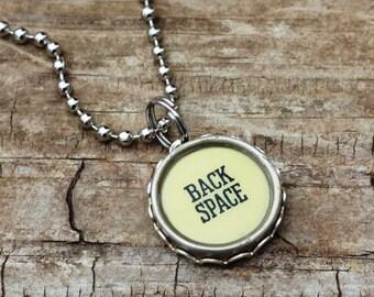 Typewriter Key Necklace, Back Space, Secretary Gift Idea