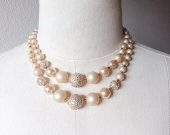 Vintage Multistrand Sugar Bead Necklace, Marked Japan Vintage Cream Jewelry Necklace