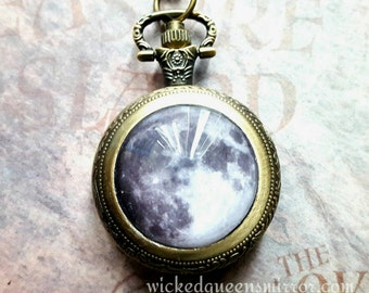 Steampunk Moon Pocket Watch Necklace, Gothic Moon Jewelry, Watch Pendant, Space Jewelry, Moon Necklace, Occult Moon Pocketwatch, Space Watch