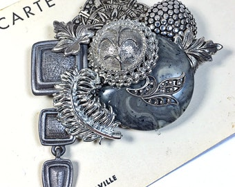 Vintage Silver toned collage brooch pin upcycled gray pewter