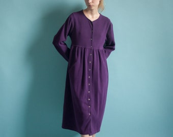 purple cotton blend babydoll dress / ribbed thermal dress / simple midi dress / s / m / 2046d / B8