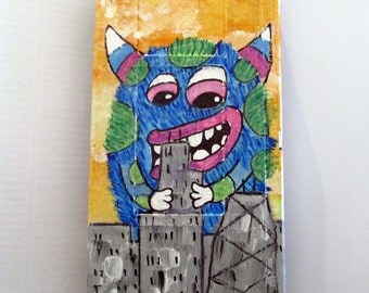 Fuzzy Monster looking over Chicago skyline painting - art on recycled VHS tape, kids wall art, childrens room decor, kawaii hipster gift,