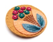 STOCKING FILLER SALE Half Price Sale Bloom felt brooch pin with freeform embroidery - scandinavian style