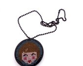 NEW YEAR SALE Sale Half Price Hand embroidered acrylic pendant / necklace - boxed